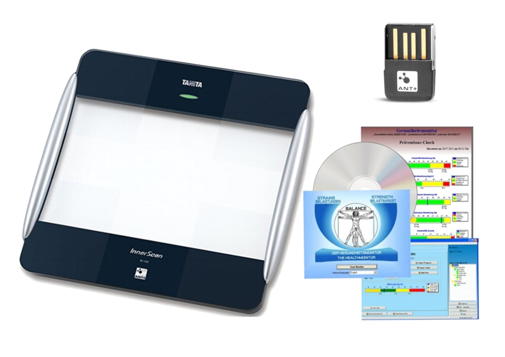 TANITA BC-1000 + USB ANT + software GMON pro BC a UM série