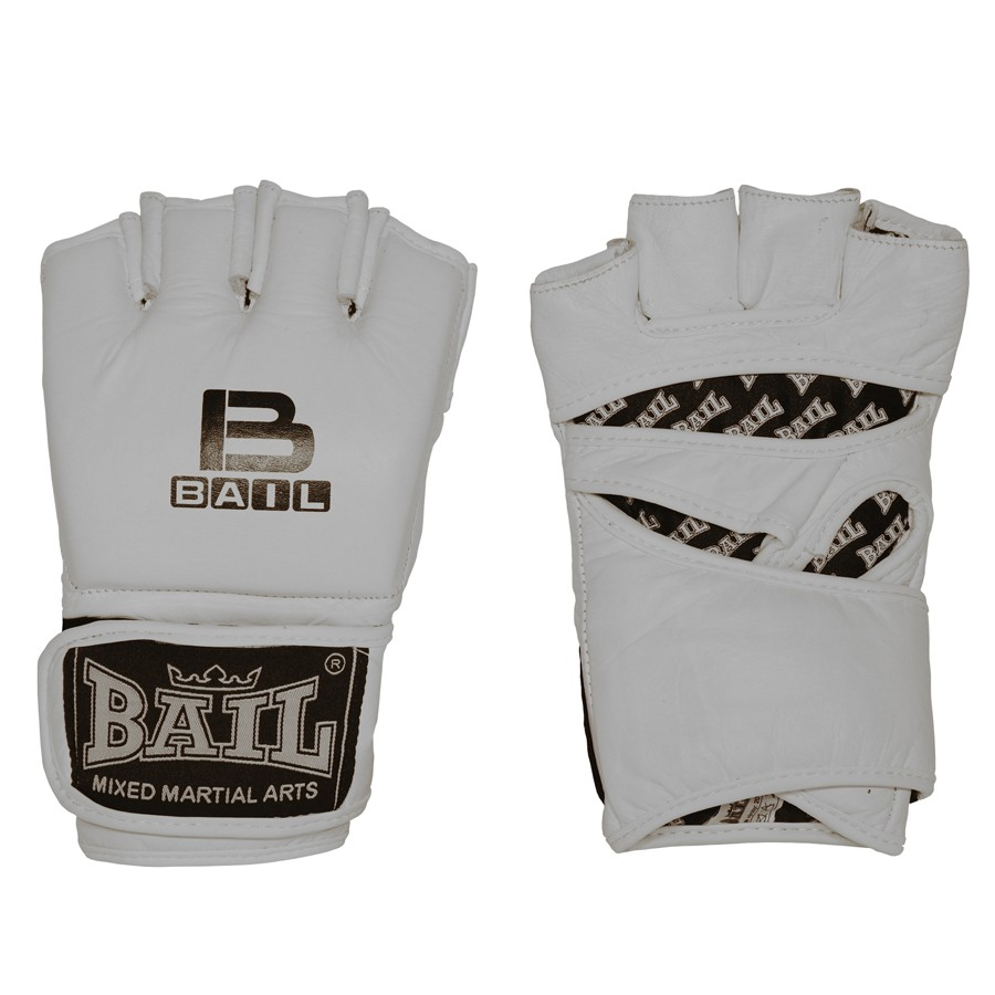 BAIL rukavice MMA WHITE bez ochrany palce M