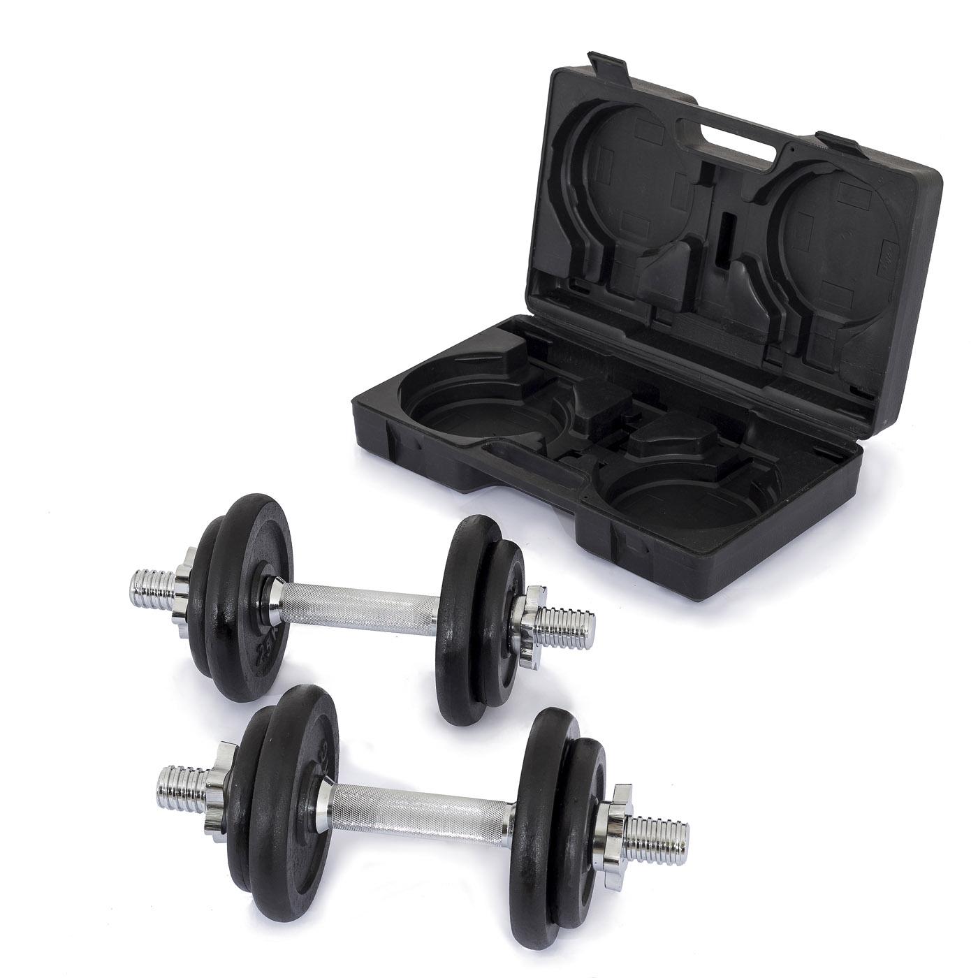 TRINFIT Činky jednoručky v kufříku 2x 10 kg /30 mm